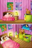 Two scenes of girl in bedroom