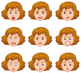 Woman with different facial expressions
