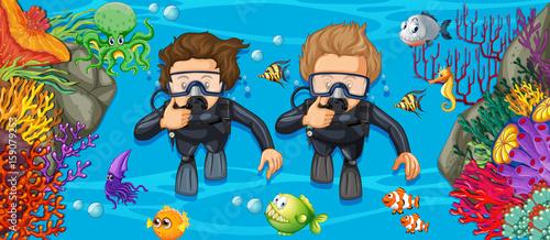 Aluminium Kids Scuba divers in the deep blue sea
