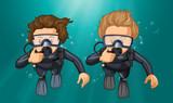 Two divers making hand gesture underwater