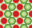 Seamless pattern of slices of watermelons on a white background. Summer pattern. Fruit pattern.Can be used for textile, manufacturing, book covers, wallpapers, print or gift wrap. Vector illustration - 159091869