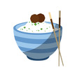 rice bowl icon over white background vector illustration - 159092228