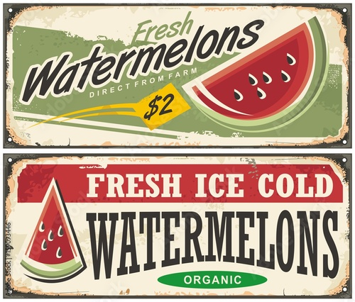 Fresh ice cold watermelons retro advertisement signs - 159093446