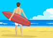 Back view of young man with a surfboard looking into the distance