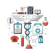 white background with colorful set of medical research icons vector illustration