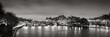 Black & White panoramic of Ile de la Cite, the Seine River and Pont Neuf at Dawn. Paris, 1st Arrondissement, France