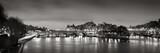 Black & White panoramic of Ile de la Cite, the Seine River and Pont Neuf at Dawn. Paris, 1st Arrondissement, France - 159101690