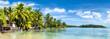 Palmenstrand und Meer als Panorama Hintergrund