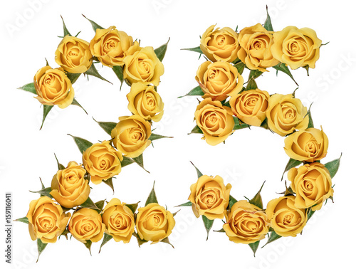 Poster Arabic numeral 25, twenty five, from yellow flowers of rose, isolated on white b