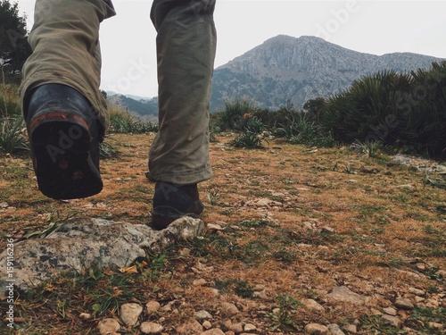 Zdjęcia na płótnie, fototapety, obrazy : Hiker in the Tramuntana mountains, Mallorca, Spain