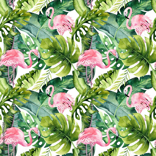 Tropical isolated seamless pattern with flamingo. Watercolor tropic drawing, rose bird and greenery palm tree, tropic green texture, exotic flower. Aloha set - 159119284