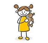 Strichfiguren Kinder Mädchen Kuscheltier