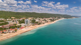 Aerial view of the beach and hotels in Golden Sands, Zlatni Piasaci. Popular summer resort near Varna, Bulgaria - 159121096