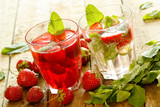 Refreshing drink with strawberry