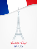 14 July. Bastille Day. French Eiffel Tower and flag.