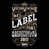 Vector vintage label font. Whiskey label style. - 159127272
