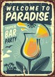 Welcome to paradise old metal sign for tropical bar party