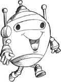 Doodle Robot Vector Illustration Art