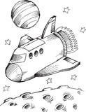 Doodle Spaceship Spaceshuttle Vector Illustration Art