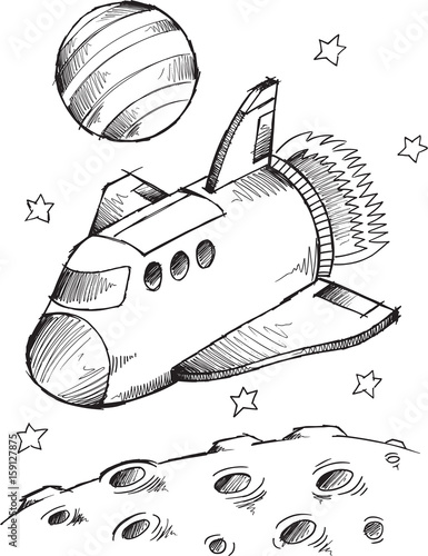 In de dag Cartoon draw Doodle Spaceship Spaceshuttle Vector Illustration Art