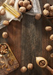 Walnuts on rustic background - 159129690