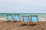 Deck Chairs on a Beach - 159132266