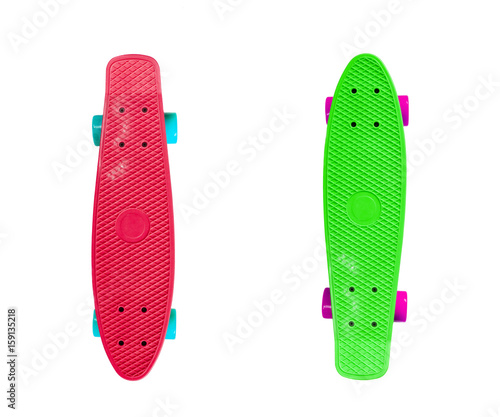Foto op Aluminium Skateboard Two red and green skateboards isolated on white background