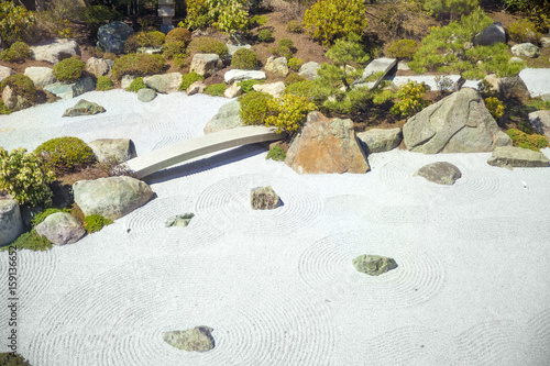 Foto op Plexiglas Stenen in het Zand Concentric circles on the sand in the Japanese garden. contemplative garden of stones in Japanese style. Copy space for your text