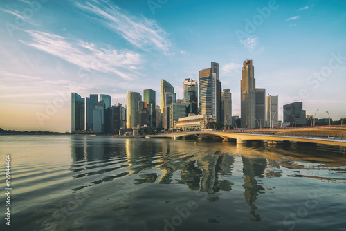 Singapore Skyline at Sunrise at Marina Bay Poster