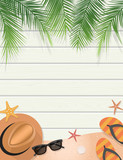 Summer holidays illustration on wooden background with copy space  for greeting card, invitation card, banner, poster, leaflet