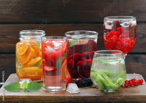 Natural berry and fruit lemonades, summer drink - 159154032