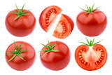 Tomatoes isolated. Fresh cut tomato set isolated on white background with clipping path - 159155092