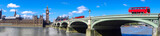 London panorama with red buses on bridge against Big Ben in England, UK - 159156809
