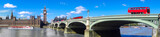 London panorama with red buses on bridge against Big Ben in England, UK - 159156841