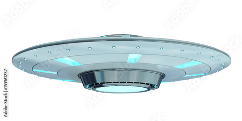 Papiers peints UFO Vintage UFO isolated on white background 3D rendering