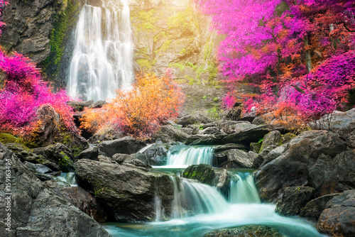 Waterfall in autumn forest  - 159163494