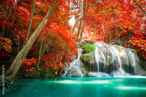 Waterfall in autumn forest  - 159163875