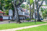 Old colonial buildings in Paramaribo, capital of Suriname. - 159166076