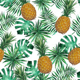 Seamless pattern with pineapple and leaves. Tropical, exotic, fashion. Watercolor, hand drawn - 159166897