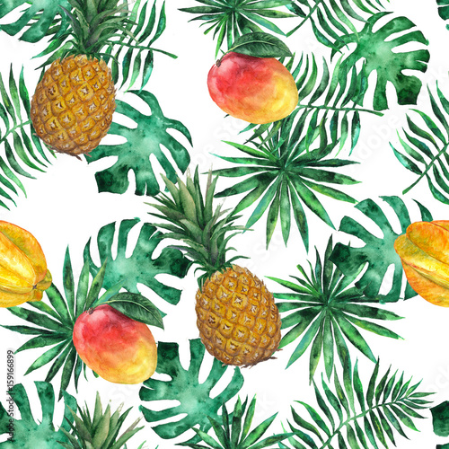 bezszwowy-wzor-z-ananasem-mango-starfruit-carambola-i-liscmi-tropikalny-egzotyczny-moda-akwarela-wyciagnac-reke