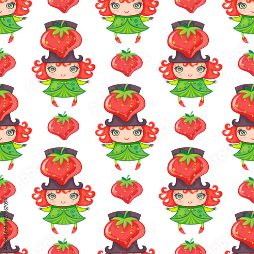 Seamless colorful pattern with cute little girl dressed fruity costume, wearing Strawberry hat. Endless texture isolated on white background. Can be used as wallpaper or wrapping paper