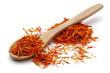 Saffron with wooden spoon