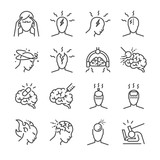 Headache line icon set. Included the icons as Tension headaches, Cluster headaches, Migraine, brain symptom and more. - 159169694