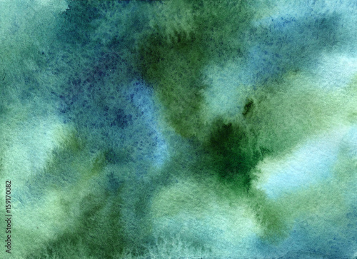 Green-blue grunge in watercolor - 159170082