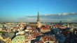 Quadro Panoramic Aerial View of the Old Town of Riga from Above, Beautiful Aerial Riga Sunset View, Latvia, Golden Hours