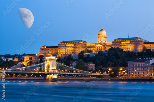 Foto op Canvas Praag Budapest during blue hour - Szechenyi Chain Bridge, that spans the River Danube between Buda and Pest and Buda Castle with moon in the sky