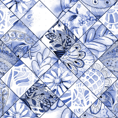 monochrome seamless texture with blue floral patchwork pattern. watercolor painting - 159186659