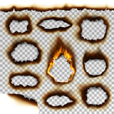 Collection of burnt faded holes piece burned paper realistic fire flame isolated page sheet torn ash vector illustration