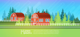 Farm House, Barn Building Field Farmland Countryside Landscape Flat Vector Illustration