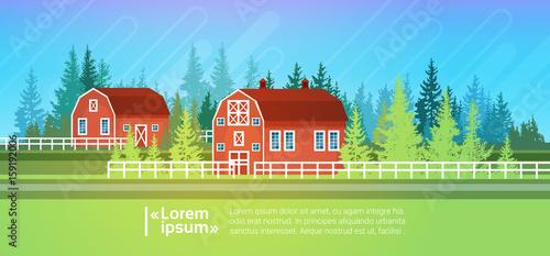 Foto op Aluminium Boerderij Farm House, Barn Building Field Farmland Countryside Landscape Flat Vector Illustration